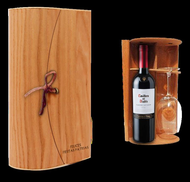 dch u set vino y copa en caja de madera flexible