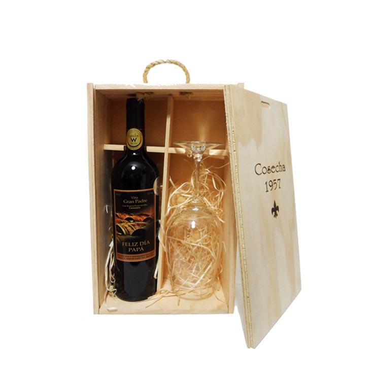 dch u caja de madera para vino y copa